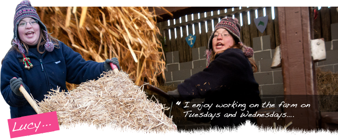 Lucy works on the farm on Saturdays and enjoys putting down straw for the piglets